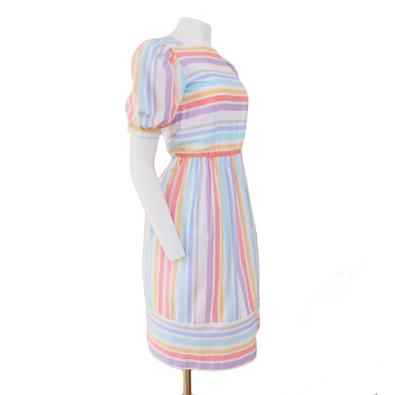 1980s Pastel Stripe Day Dress - Sweet Disorder Vintage