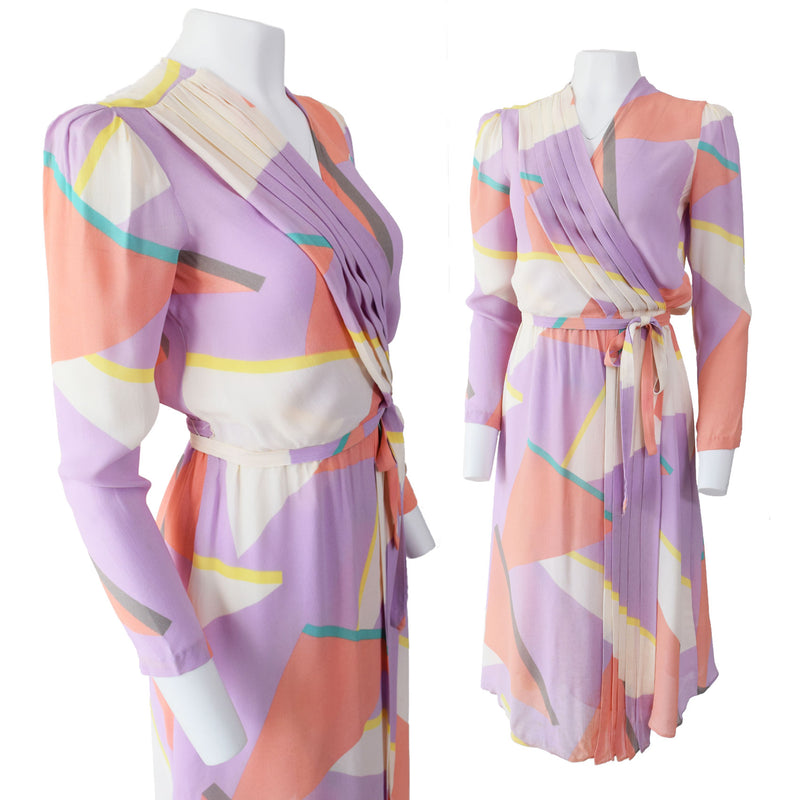 1980s New Wave Print Disco Dress - Sweet Disorder Vintage