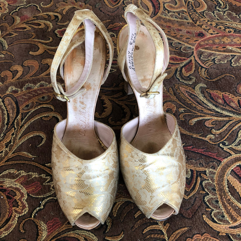1930s Gold Lace Print Satin Shoes - Sweet Disorder Vintage