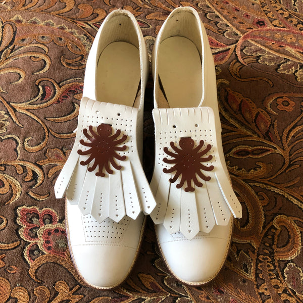 1940s Deadstock Playshu White Oxfords - Sweet Disorder Vintage