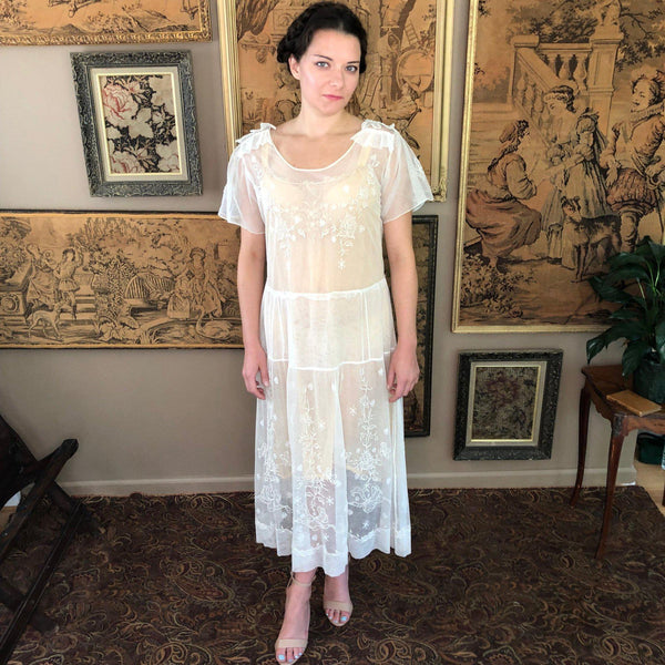 1920s Embroidered Net Dress - Sweet Disorder Vintage