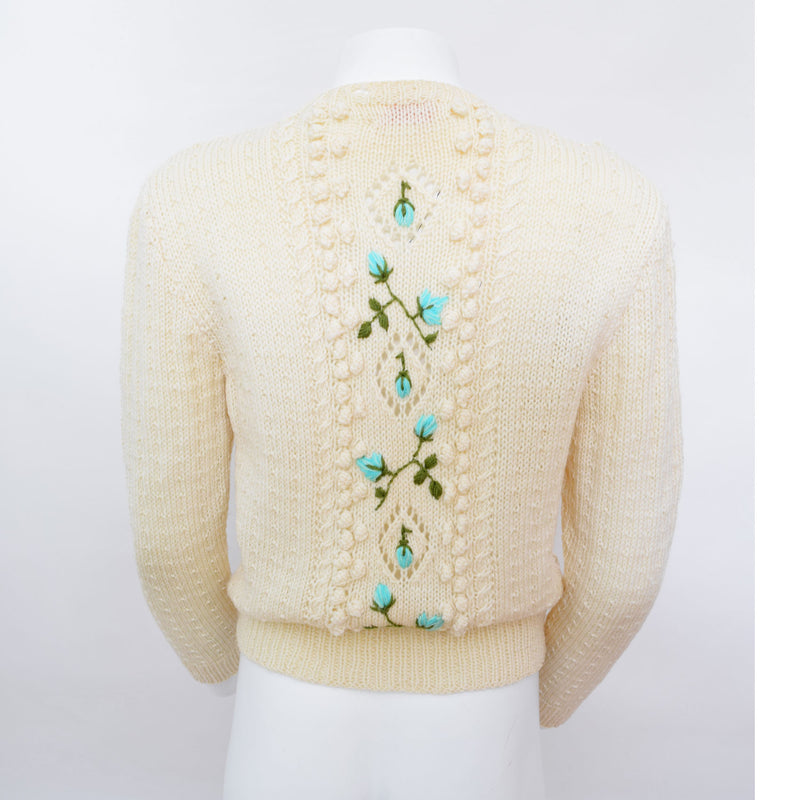 1960s Hand-Knitted Flower Cardigan