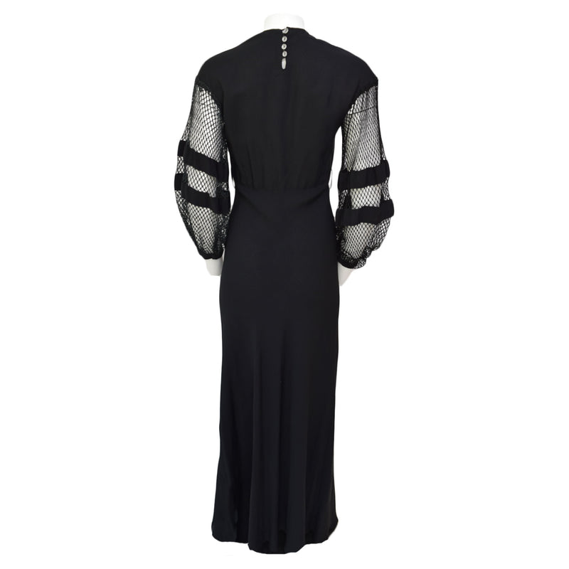 1930s Fishnet Sleeve Maxi Dress
