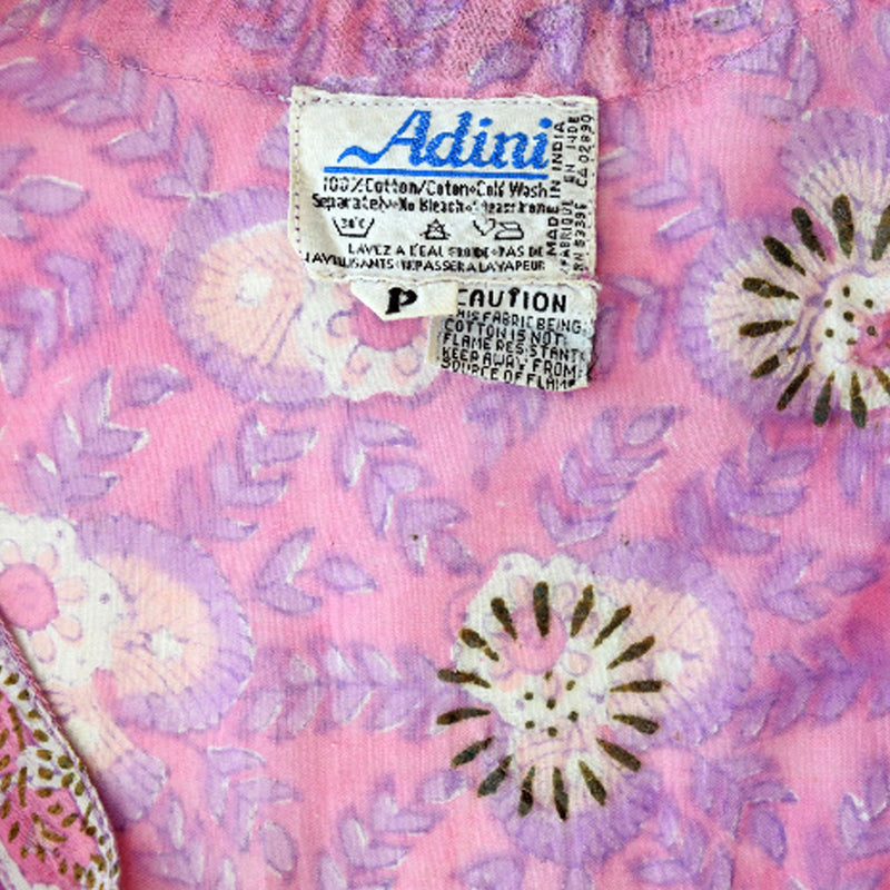 1970s Adini Pink Block Print Gauze Dress - Sweet Disorder Vintage