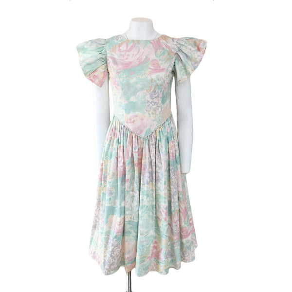 1980s Watercolor Tea Dress - Sweet Disorder Vintage