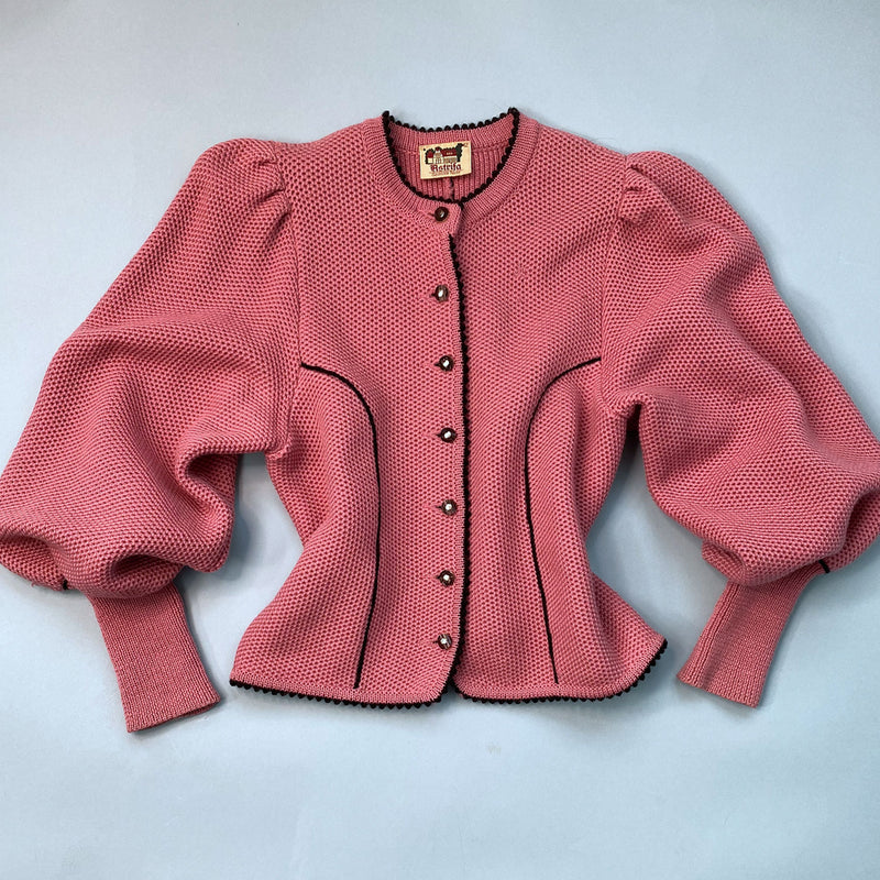 1980s Pink Mutton Sleeve Cardigan