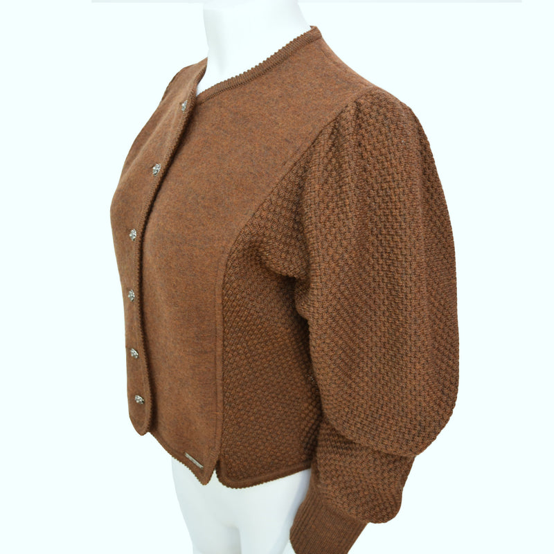 Vintage 1980s Copper Balloon Sleeve Cardigan