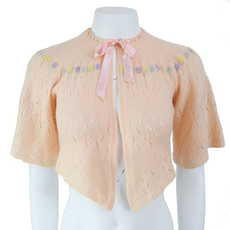 1940s Hand Knit Bed Jacket - Sweet Disorder Vintage