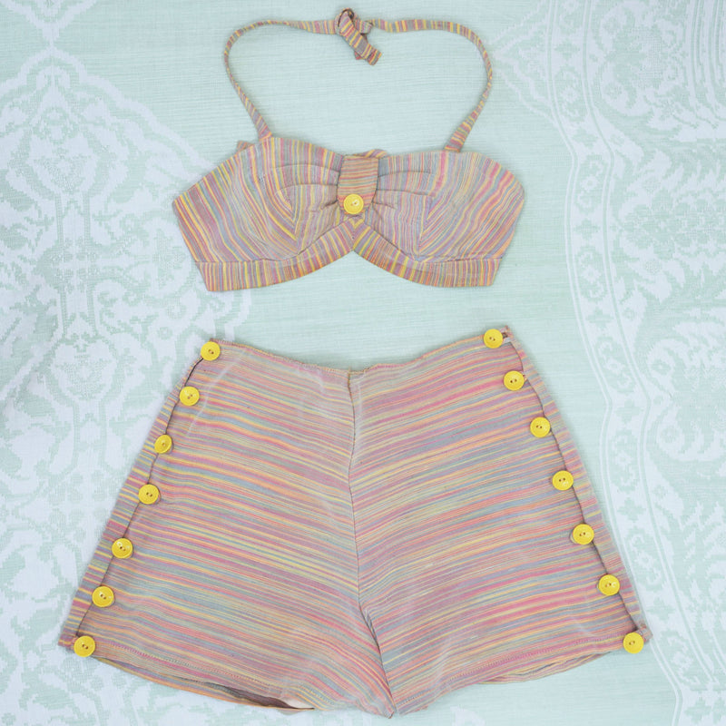 1940s Rainbow Two Piece Playsuit - Sweet Disorder Vintage