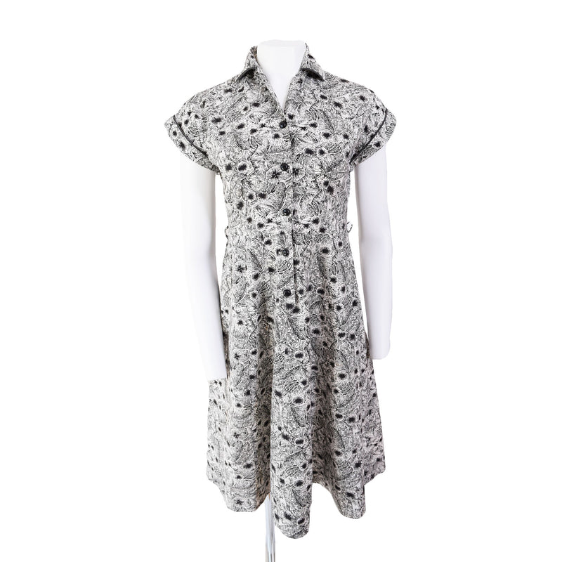 1950s Black & White Cotton Dress - Sweet Disorder Vintage