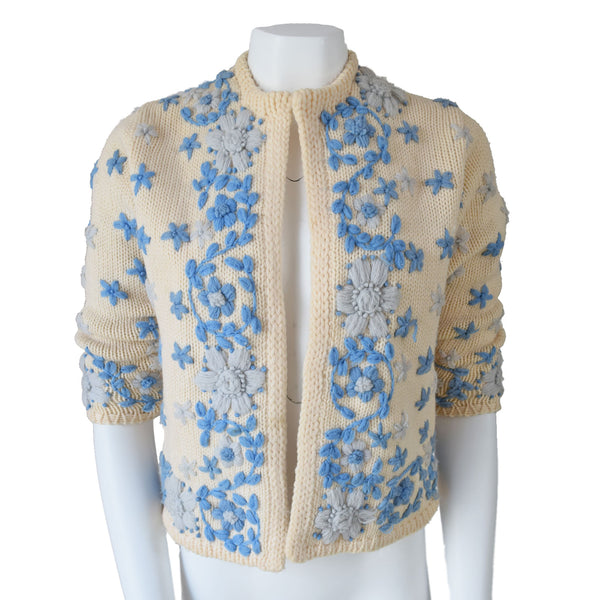 1960s Hand Embroidered Cardigan - Sweet Disorder Vintage