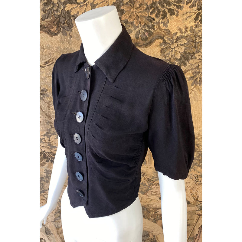 1930s Black Rayon Blouse with Deco Buttons