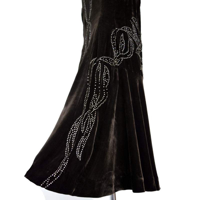 1920s Silk Velvet Dress Rhinestone Trim - Sweet Disorder Vintage