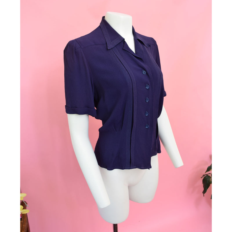 1940s Navy Rayon Blouse