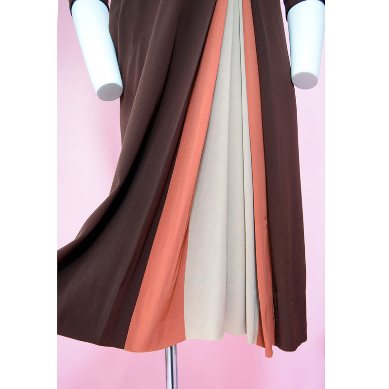 1940s Colorblock Rayon Day Dress