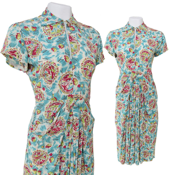 1940s Turquoise Novelty Print Dress - Sweet Disorder Vintage