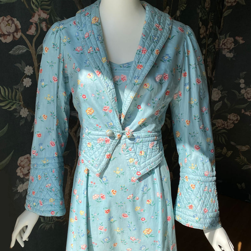 Rare 1930s Polished Cotton Maxi Dress & Jacket Set