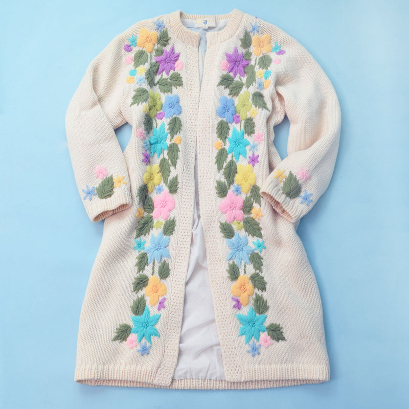 1960s Hand-Embroidered Knit Coat