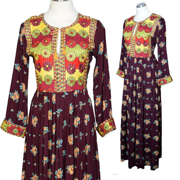 Vintage 1970s Embroidered Maxi Dress - Sweet Disorder Vintage