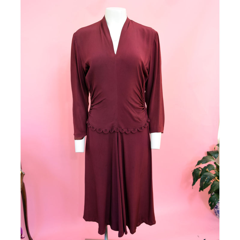 1940s Mulberry Rayon Day Dress