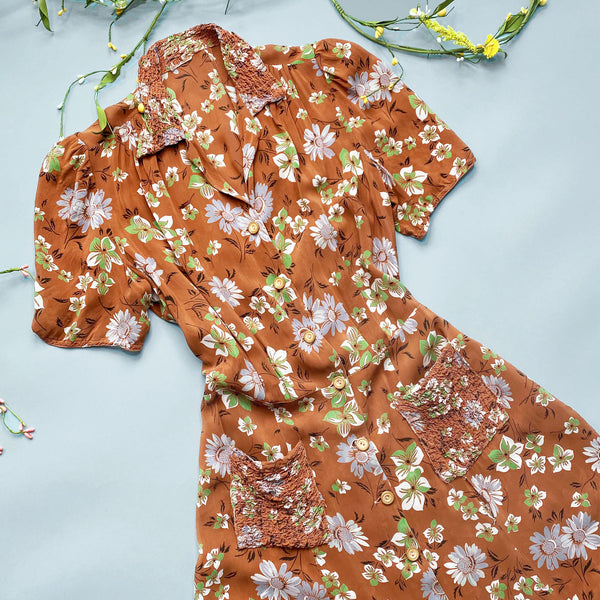 1940s Brown Floral Day Dress