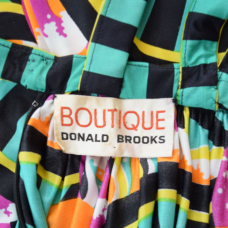 1970s Donald Brooks Art Deco Print Maxi Dress - Sweet Disorder Vintage