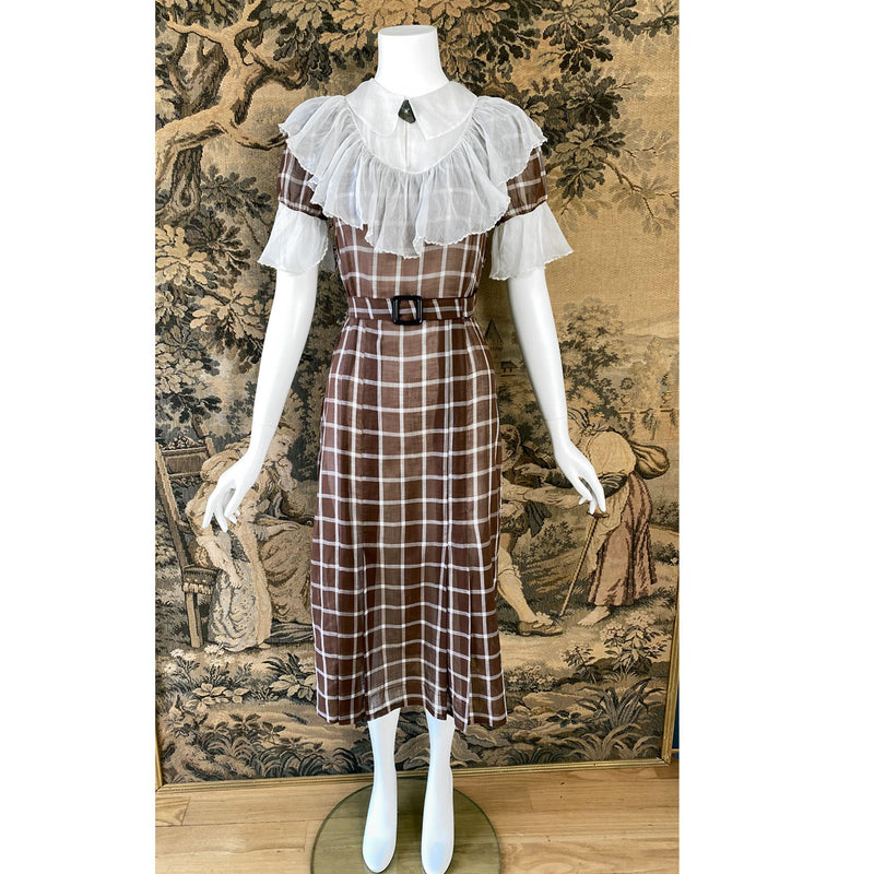 1930s Brown Windowpane Day Dress