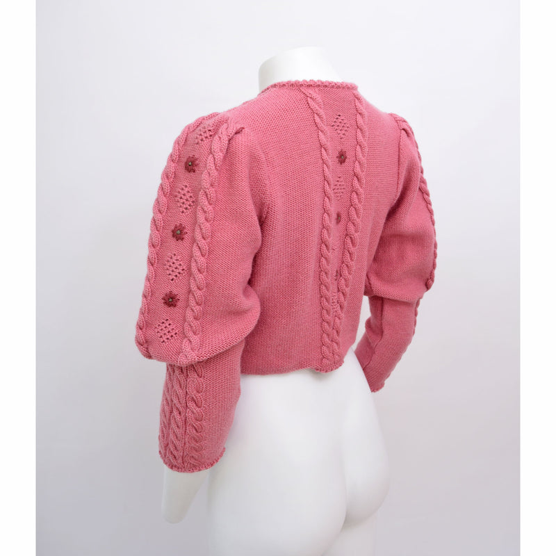 1980s Cropped Mutton Sleeve Cardigan