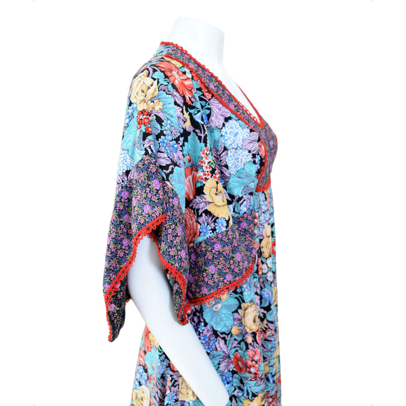 1970s Floral Handkerchief Maxi Dress - Sweet Disorder Vintage