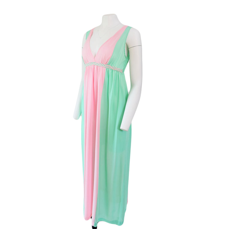1970s Colorblock Pink & Green Negligee - Sweet Disorder Vintage