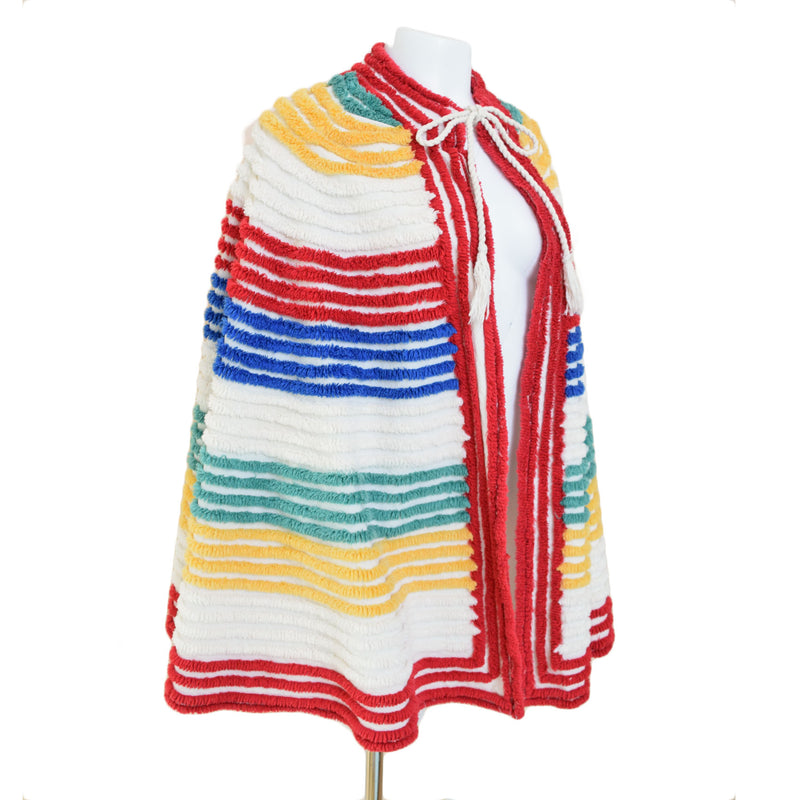 1930s Rainbow Chenille Beach Cape - Sweet Disorder Vintage