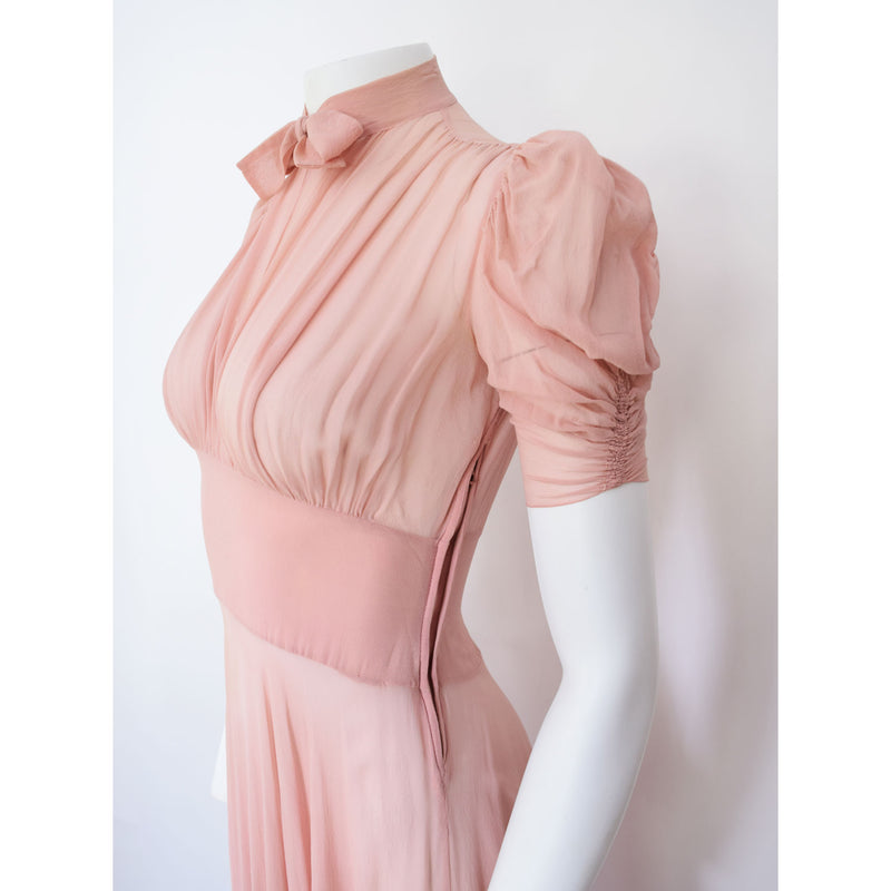 1930s Silk Chiffon Maxi Dress