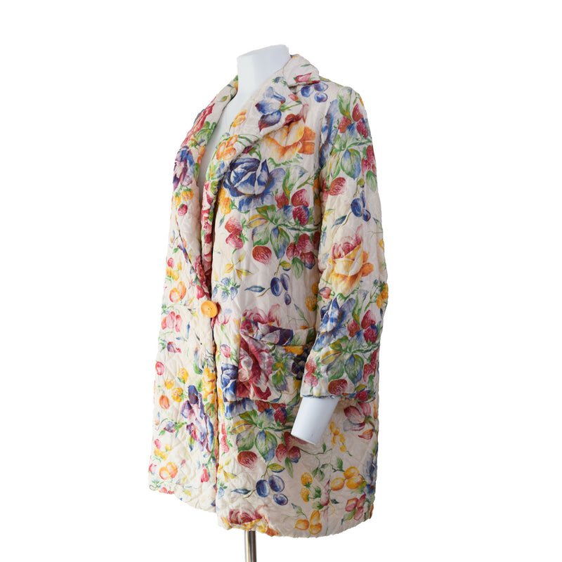 1950s Quilted Floral House Coat - Sweet Disorder Vintage