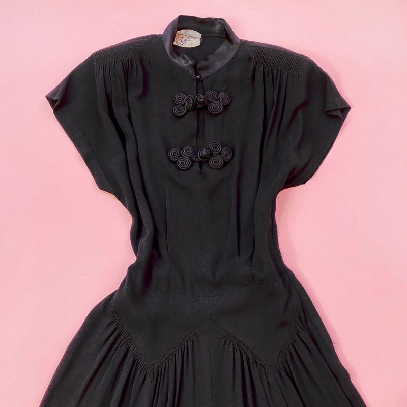 1940s Mandarin Collar Day Dress