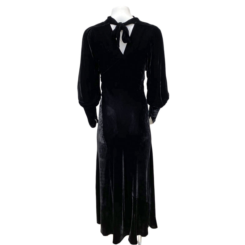 1930s Deco Silk Velvet Maxi Dress