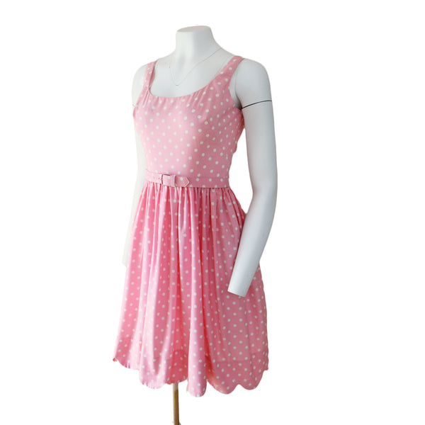 1960s Pink Polka Dot Midi Dress - Sweet Disorder Vintage