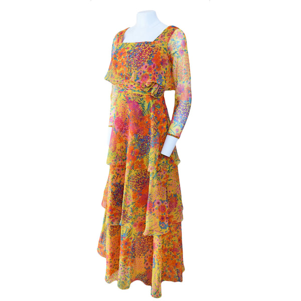 1970s Tiered Chiffon Maxi Dress - Sweet Disorder Vintage