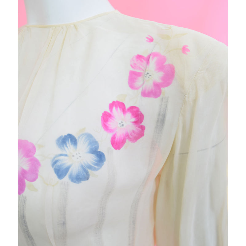 1940s Hand-Painted Blouse - Sweet Disorder Vintage