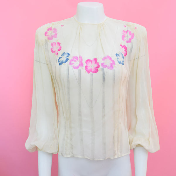 1940s Hand-Painted Blouse