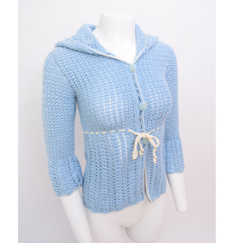 1960s Blueberry Hooded Cardigan