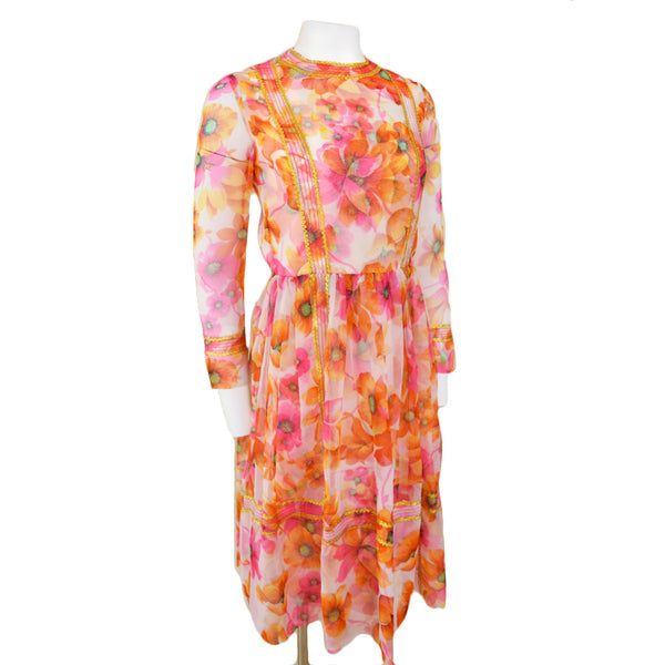 1970s Poppy Print Midi Dress - Sweet Disorder Vintage