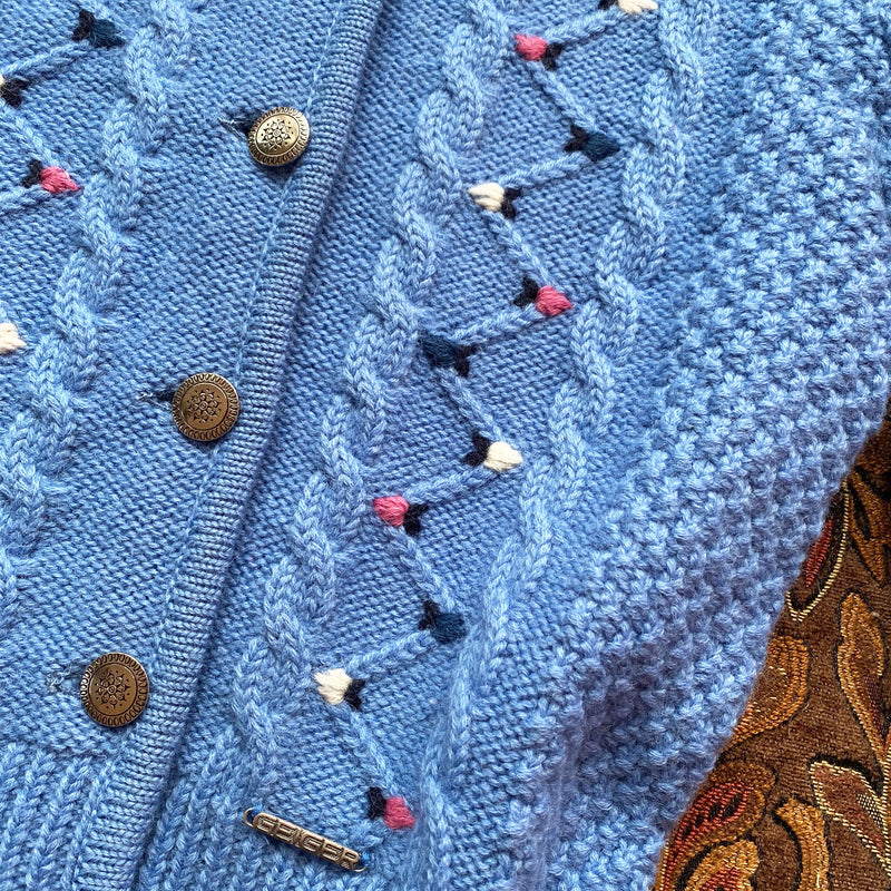 1980s Cornflower Blue Embroidered Cardigan