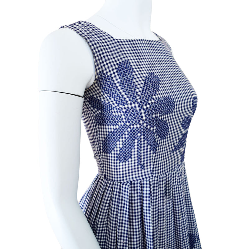 1960s Hand Embroidered Gingham Dress - Sweet Disorder Vintage