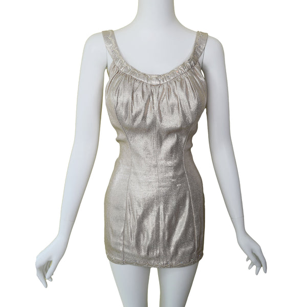 1950s DeWeese Designs Metallic Silver Swimsuit
