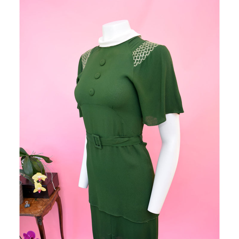 1930s Green Crepe Day Dress