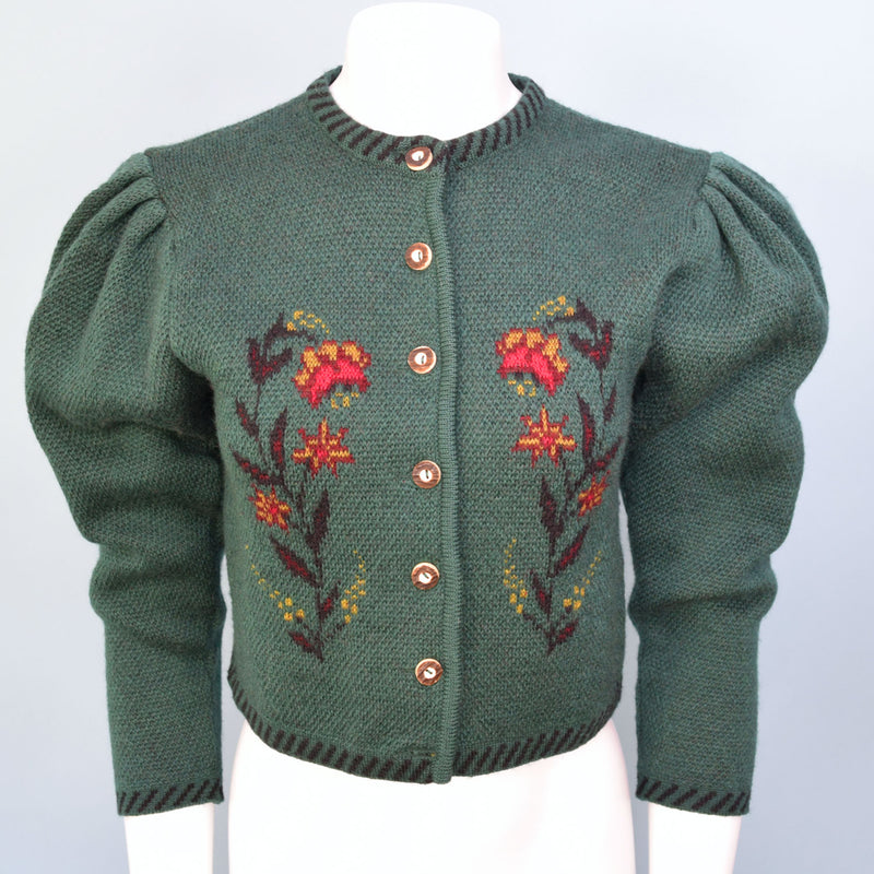 1980s Bottle Green Jacquard Cardigan