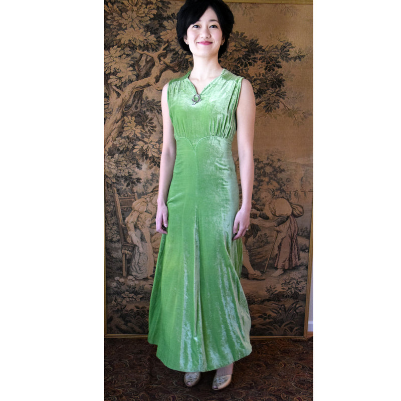 1930s Arsenic Green Velvet Dress - Sweet Disorder Vintage