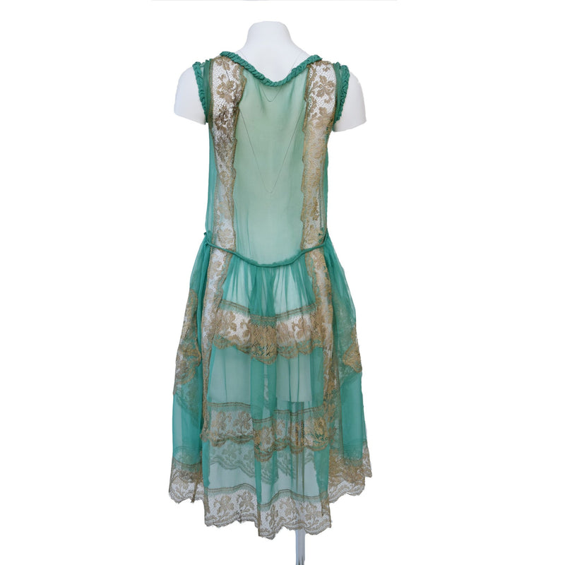 1920s Absinthe Green Dress With Metallic Lace - Sweet Disorder Vintage