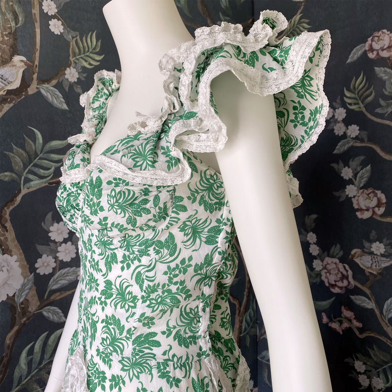 1930s Green Floral Cotton Ruffle Dress