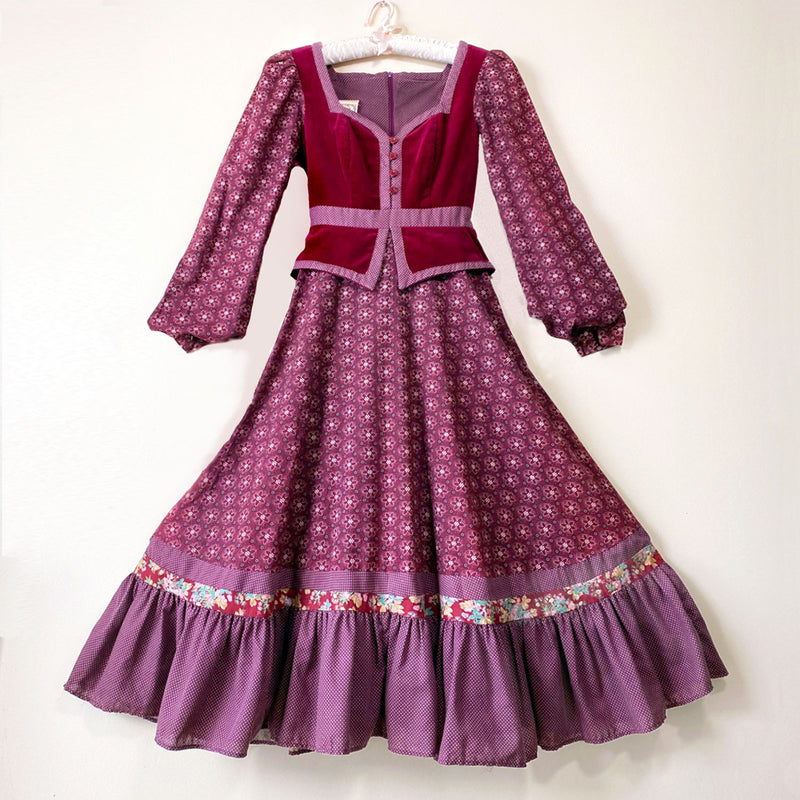 1970s Burgundy Velvet Gunne Sax Midi Dress